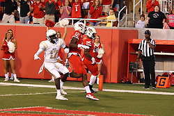 03 September 2016:  Brandon Riley is blocked out by Christian Gibbs so that James Robinson can score. NCAA FCS Football game between Valparaiso Crusaders and Illinois State Redbirds at Hancock Stadium in Normal IL (Photo by Alan Look)