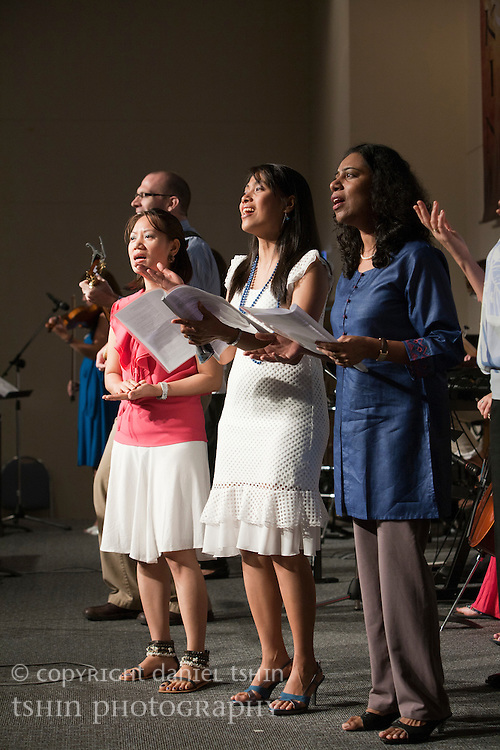 The choir leading the Evangelical Church of Bangkok (ECB) during the Easter service on 24 April 2011 in Bangkok, Thailand