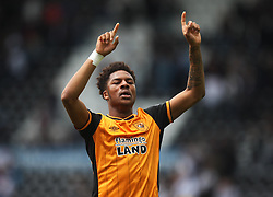 Chuba Akpom of Hull City celebrates at the final whistle - Mandatory by-line: Jack Phillips/JMP - 14/05/2016 - FOOTBALL - iPro Stadium - Derby, England - Derby County v Hull City - Sky Bet Championship Play-Off Semi-Final First-Leg