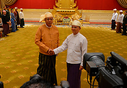 Myanmar's outgoing President U Thein Sein (R) shakes hands with newly-elected president of Myanmar U Htin Kyaw during the president power handover ceremony at the Presidential Palace in Nay Pyi Taw, Myanmar, March 30, 2016. EXPA Pictures © 2016, PhotoCredit: EXPA/ Photoshot/ Xinhua<br /> <br /> *****ATTENTION - for AUT, SLO, CRO, SRB, BIH, MAZ, SUI only*****