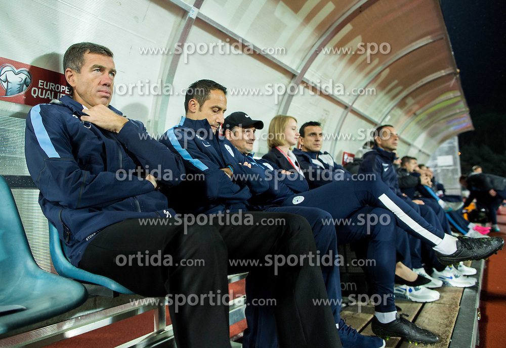 Srecko Katanec, head coach of Slovenia during football match between National teams of San Marino and Slovenia in Group E of EURO 2016 Qualifications, on October 12, 2015 in Stadio Olimpico Serravalle, Republic of San Marino. Photo by Vid Ponikvar / Sportida