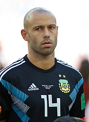 MOSCOW, RUSSIA - Saturday, June 16, 2018: Argentina's Javier Mascherano lines-up before the FIFA World Cup Russia 2018 Group D match between Argentina and Iceland at the Spartak Stadium. (Pic by David Rawcliffe/Propaganda)