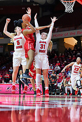 NORMAL, IL - December 04: Nieja Crawford shoots out of a double team of Lexy Koudelka and Kayel Newland during a college women's basketball game between the ISU Redbirds  and the Austin Peay Governors on December 04 2018 at Redbird Arena in Normal, IL. (Photo by Alan Look)