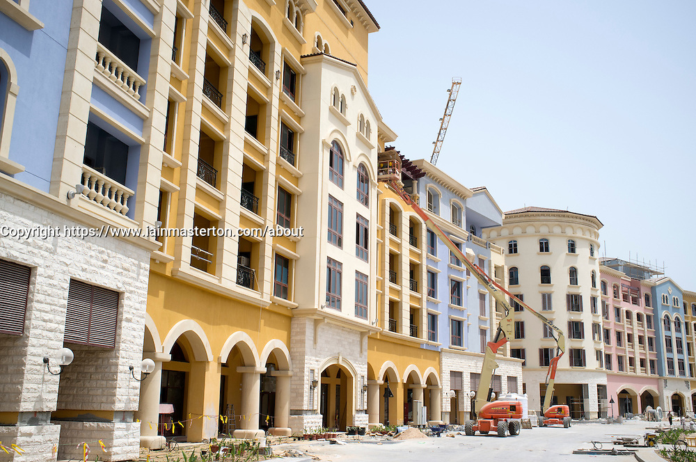 Construction of residential Medina Centrale part of Porto Arabia in the new Pearl property development in Doha Qatar