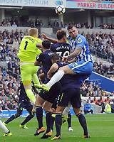 Football - 2017 / 2018 Premier League - Brighton & Hove Albion vs. Everton<br /> <br /> Shane Duffy of Brighton is foiled by Goalkeeper Jordan Pickford of Everton at The Amex.<br /> <br /> COLORSPORT/ANDREW COWIE