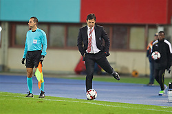 VIENNA, AUSTRIA - Thursday, October 6, 2016: Wales' manager Chris Coleman kicks the ball back during the 2018 FIFA World Cup Qualifying Group D match against Austria at the Ernst-Happel-Stadion. (Pic by David Rawcliffe/Propaganda)