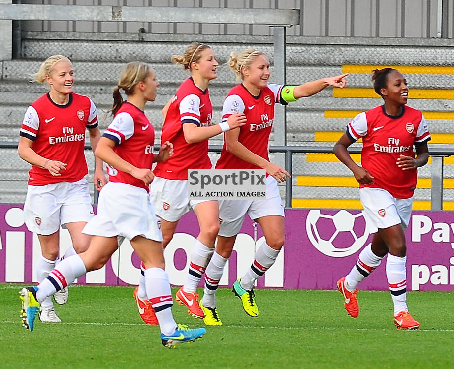 The Arsenal players celebrate their first goal as Arsenal Ladies play Glasgow City Ladies in the UEFA Women's Champions League Round of 16 match at The Hive, Barnet FC on Sat 9 November 2013 (c) Ian Nancollas | SportPix.org.uk