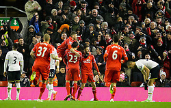 Liverpool's Mario Balotelli celebrates after scoring the winning goal 3-2 - Photo mandatory by-line: Matt McNulty/JMP - Mobile: 07966 386802 - 10/02/2015 - SPORT - Football - Liverpool - Anfield - Liverpool v Tottenham Hotspur - Barclays Premier League