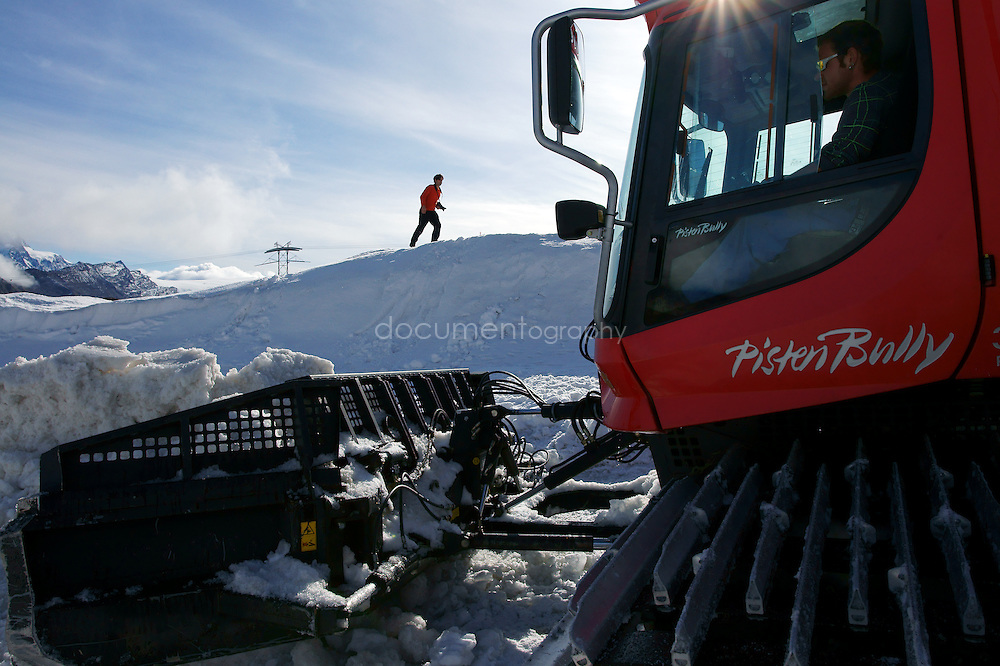 SONY DSC.Building the football pitch on the Theodul Glacier for the Sony Football Twilight football match.