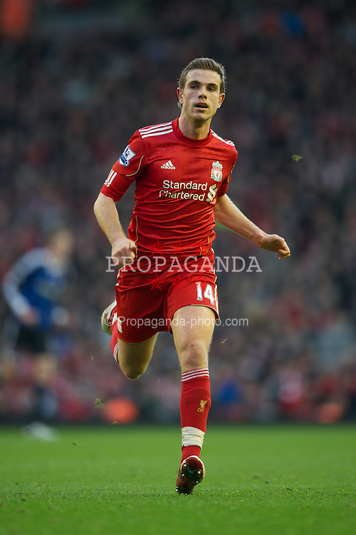 LIVERPOOL, ENGLAND - Saturday, January 14, 2012: Liverpool's Jordan Henderson in action against Stoke City during the Premiership match at Anfield. (Pic by David Rawcliffe/Propaganda)