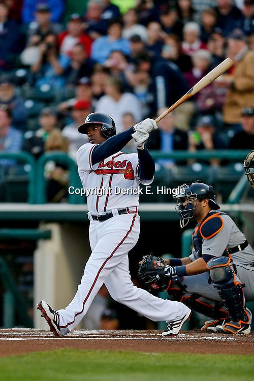 Mar 7, 2013; Lake Buena Vista, FL, USA; Atlanta Braves left fielder Justin Upton (8) against the Detroit Tigers during a spring training game at Champion Stadium. Mandatory Credit: Derick E. Hingle-USA TODAY Sports
