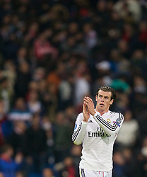 MADRID, SPAIN - Tuesday, November 4, 2014: Real Madrid's Gareth Bale after the 1-0 victory over Liverpool during the UEFA Champions League Group B match at the Estadio Santiago Bernabeu. (Pic by David Rawcliffe/Propaganda)
