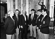 Mayo Football Team At Dept of Foreign Affairs  (T6)..1989..18.09.1989..09.18.1989..18th September 1989..Prior to their return to Mayo, the beaten All ireland Finalists paid a courtesy call on the Dept of Foreign Affairs in Iveagh House, Dublin. Mayo had been beaten by Cork in a thrilling All Ireland Final yesterday afternoon in Croke Park...Image shows members of the Mayo team at the reception in the Dept of Foreign Affairs in Iveagh House, Dublin.