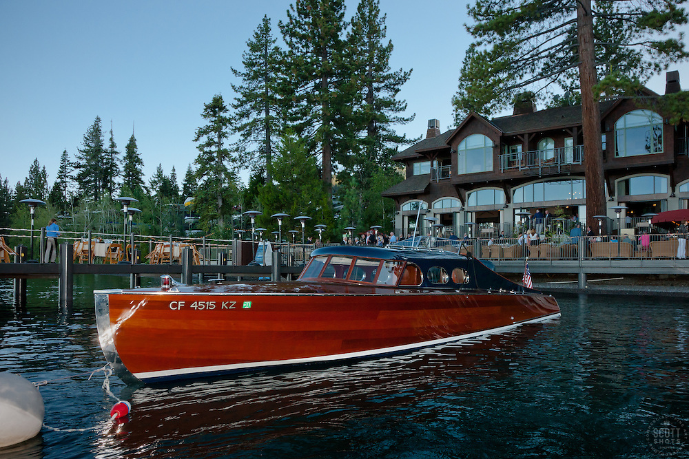 """""""Boat at West Shore Cafe"""" - This classic wooden boat was photographed in front of the West Shore Cafe, Lake Tahoe during the Concours d'Elegance Opening Night Dinner."""