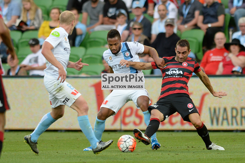 Aaron Mooy of Melbourne City, Harry Novillo of Melbourne City - Hyundai A-League, January 9th 2016, RD14 match between Melbourne City FC v Western Sydney Wanderers FC at Aami Park in a 3:2 win to City. Melbourne, Australia. © Mark Avellino | SportPix.org.uk