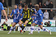 Burton Albion midfielder Tom Naylor under pressure during the Sky Bet League 1 match between Burton Albion and Gillingham at the Pirelli Stadium, Burton upon Trent, England on 30 April 2016. Photo by Aaron  Lupton.