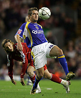Photo: Paul Thomas.<br /> Liverpool v Cardiff City. Carling Cup. 31/10/2007.<br /> <br /> Stephen McPail (R) of Cardiff wins the ball from Lucas.