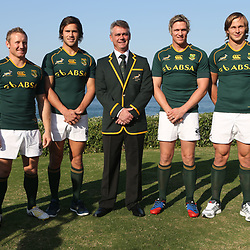 DURBAN, SOUTH AFRICA - JUNE 07: Willie le Roux with Jano Vermaak Jan Serfontein Springbok coach Heyneke Meyer Jean de Villiers Arno Botha and Trevor Nyakane  during the Springboks team photo and press conference at Beverly Hills Hotel on June 07, 2013 in Durban, South Africa. (Photo by Steve Haag/Gallo Images)
