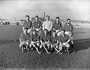 11/01/1958<br /> 01/11/1958<br /> 11 January 1958<br /> Interprovincial Mens Hockey: Munster v Leinster at London Bridge Road, Sandymount, Dublin. The Leinster team.