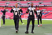 AFC Wimbledon striker Kweshi Appiah (9) and AFC Wimbledon defender Deji Oshilaja (4) with thumbs up during the The FA Cup 3rd round match between Tottenham Hotspur and AFC Wimbledon at Wembley Stadium, London, England on 7 January 2018. Photo by Matthew Redman.