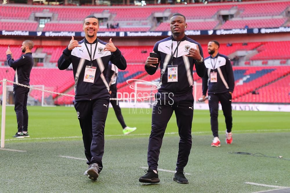 AFC Wimbledon striker Kweshi Appiah (9) and AFC Wimbledon defender Deji Oshilaja (4) with thumbs up during the The FA Cup 3rd round match between Tottenham Hotspur and AFC Wimbledon at Wembley Stadium, London, England on 7 January 2018. Photo by Matthew Redman.