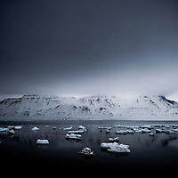 Sea ice floes, Svalbard, Arctic circle.