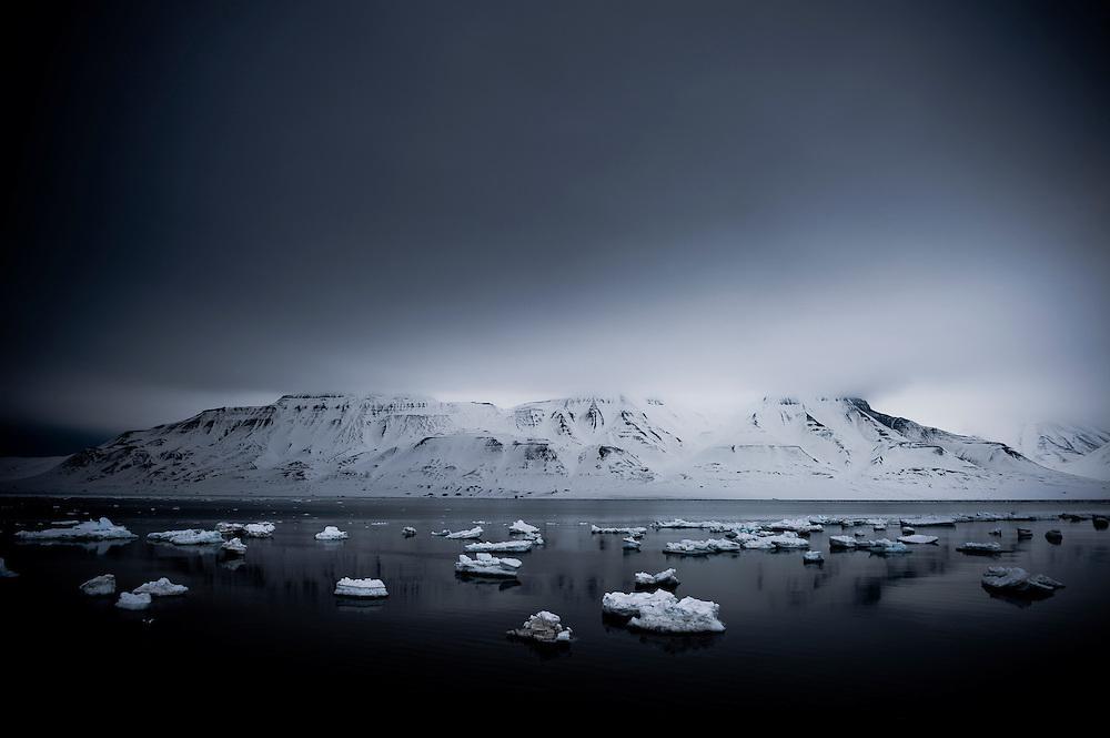 Sea ice floes, Svalbard, Arctic circle.