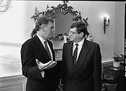 Mayor of Boston At Iveagh House.  (T6)..1989..18.09.1989..09.18.1989..18th September 1989..As part of his visit to Ireland,The Mayor of Boston,Mr Raymond Flynn,paid a call to the Department of Foreign Affairs where he had talks with the Minister for Justice, Ray Burke TD...Image shows Mr Raymond Flynn, Mayor of Boston (L) meeting with the Minister for Justice, Mr Ray Burke TD, for talks on the mayors visit to Iveagh House, Dublin.