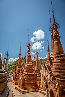 Clusters of beautiful stupas and pagodas make up the majority of the Indein Ruins complex near Inle Lake, Burma.