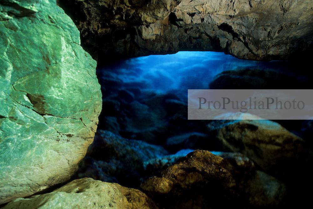 Karst cave on the limestone coast between Otranto and Santa Maria di Leuca