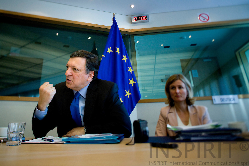 BRUSSELS - BELGIUM - 18 MAY 2009 -- Jose (José) Manuel BARROSO, President of the European Commission, during a interview at Breydel the old HQ of the EC. Next to him  Pia AHRENKILDE HANSEN, Deputy Spokeswoman. Photo: Erik Luntang