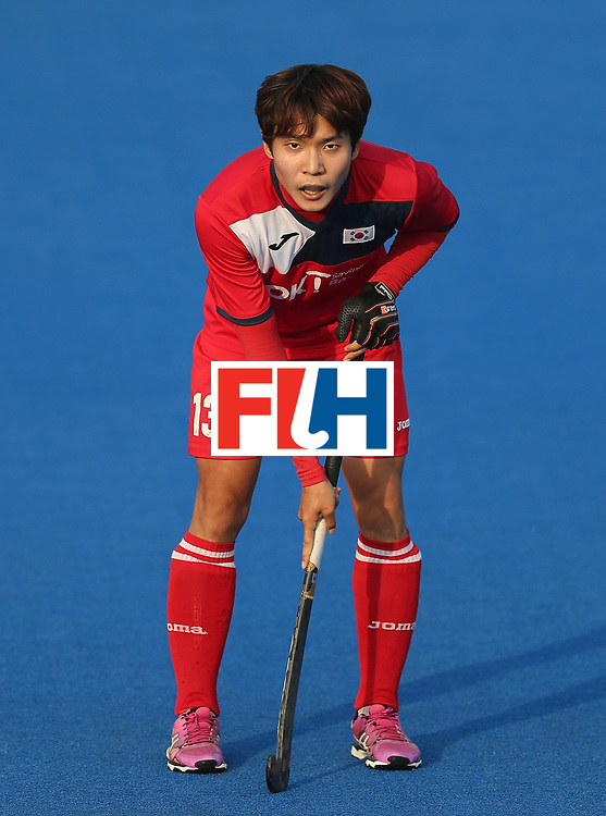 LONDON, ENGLAND - JUNE 19:  JungHoo Kim of South Korea during the Pool A match between South Korea and Malaysia on day five of Hero Hockey World League Semi-Final at Lee Valley Hockey and Tennis Centre on June 19, 2017 in London, England.  (Photo by Alex Morton/Getty Images)