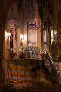 Christmas decorations on a historic home Savannah, GA.