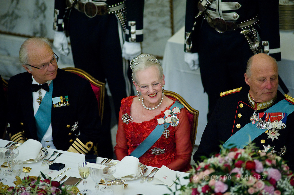 15.04.2015. Copenhagen, Denmark.King Carl XVI Gustaf of Sweden, Queen Margrethe II and King Harald of Norway during a Gala Dinner at Christiansborg Palace on the eve of The 75th Birthday of Queen Margrethe of Denmark.Photo:© Ricardo Ramirez