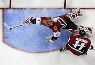 Ottawa Senators goaltender Ray Emery makes a diving stick save during the third period in Game 3 of the Stanley Cup Finals at the ScotiaBank Place in Ottawa, Ontario Saturday June 2, 2007.