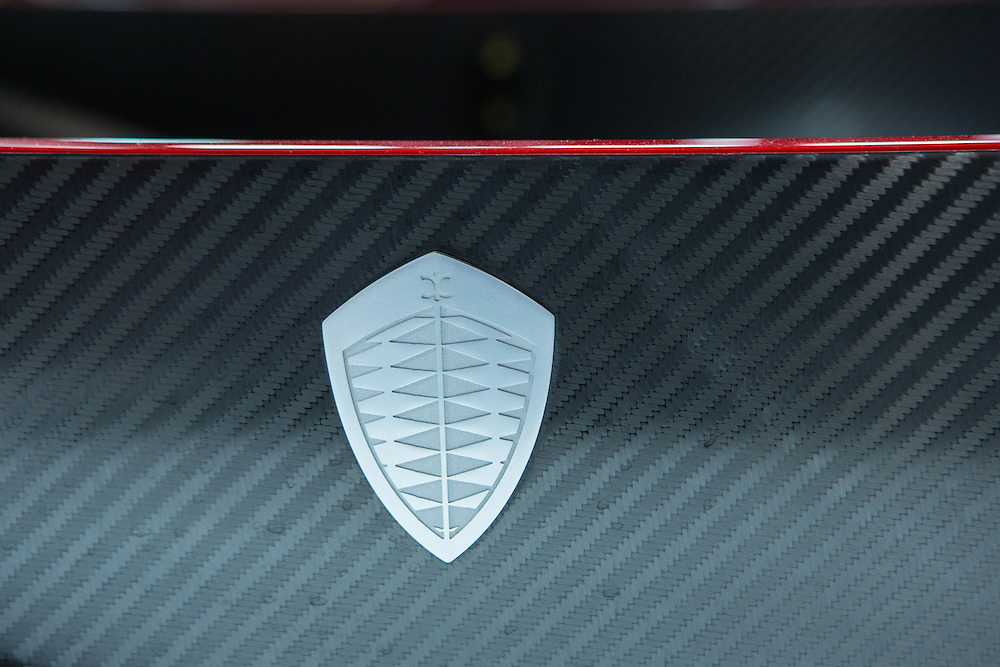 "New York, NY, USA-23 March 2016. The company logo on a Koenigsegg Regera. The model, a hybrid luxury ""megacar"" which retails for US $2m, will be limited to 80 examples worldwide."