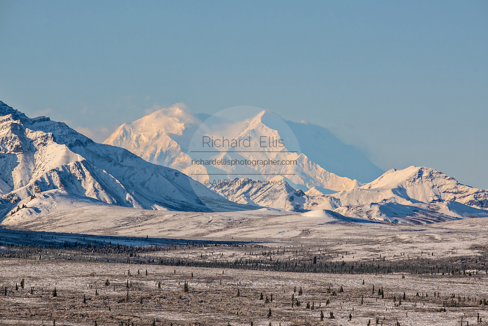 An early season snow dusts the boreal forests and Alaskan Range of mountains in Denali National Park, McKinley Park, Alaska. Denali mountain, also known as Mt McKinley is in the center.