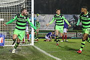 Forest Green Rovers Scott Laird(3) scores a goal 2-2 and celebrates during the The FA Cup match between Forest Green Rovers and Exeter City at the New Lawn, Forest Green, United Kingdom on 2 December 2017. Photo by Shane Healey.