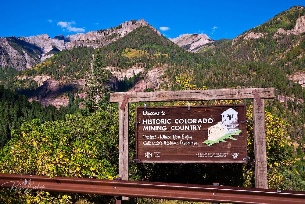 Interpretive sign above Ouray, Colorado