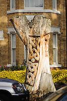 Tree Sculptures, Marlborough Avenue on a sunny autumn morning.