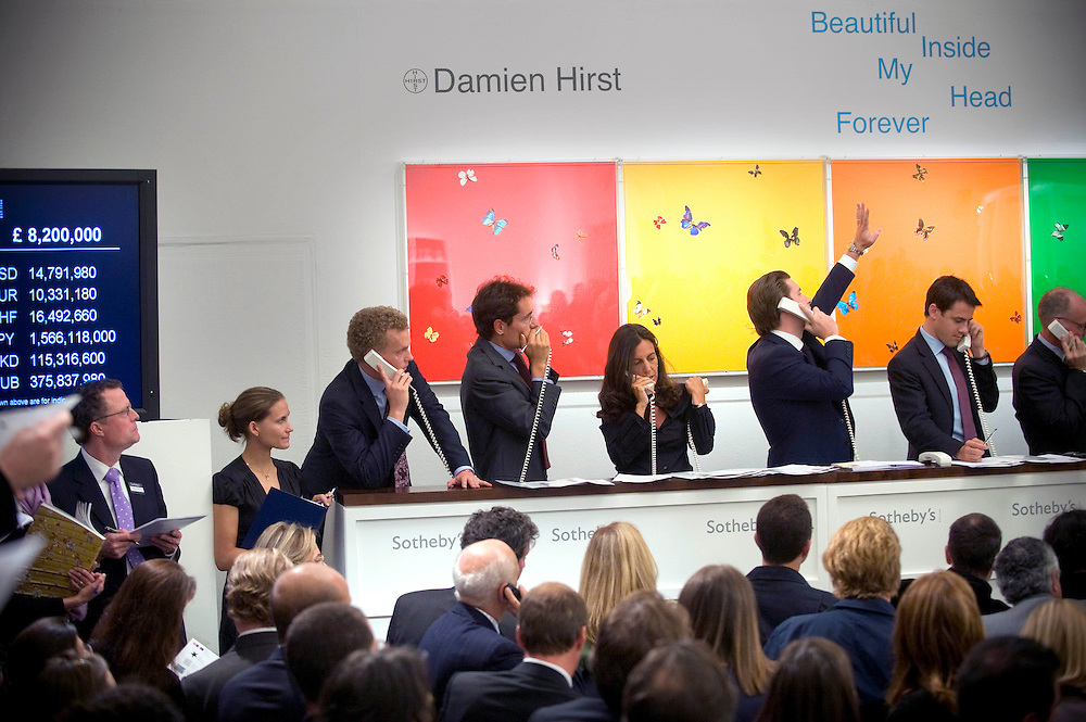 UK artist, Damien Hirst's ' Beautiful Inside My Head' auction at Sotheby's in London. Dimien Hirst set a record when a buyer paid £10,345,250.00 for his 'The Golden Calf'. It is estimated that he made over £100,000,000 from the two day sale..Photo©Steve Forrest