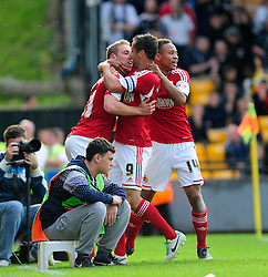 Bristol City's Scott Wagstaff celebrates with his team mates after scoring. - Photo mandatory by-line: Dougie Allward/JMP - Tel: Mobile: 07966 386802 05/10/2013 - SPORT - FOOTBALL - Vale Park - Stoke-on-Trent - Port Vale V Bristol City - Sky Bet League 1