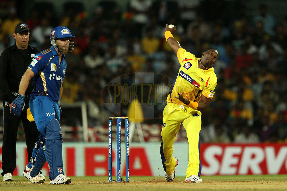 Dwayne Bravo during match 3 of the NOKIA Champions League T20 ( CLT20 )between the Chennai Superkings and the Mumbai Indians held at the M. A. Chidambaram Stadium in Chennai , Tamil Nadu, India on the 24th September 2011..Photo by Ron Gaunt/BCCI/SPORTZPICS