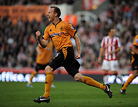 Britannia Stadium Stoke City v Wolverhampton Wanderers 31/10/09<br /> Jody Craddock  (Wolves) celebrates his  second goal<br /> Photo Roger Parker Fotosports International