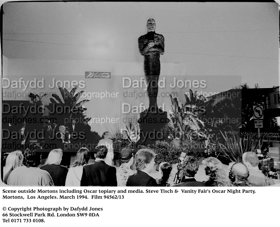 Scene outside Mortons including Oscar topiary and media. Steve Tisch &  Vanity Fair's Oscar Night Party,<br />