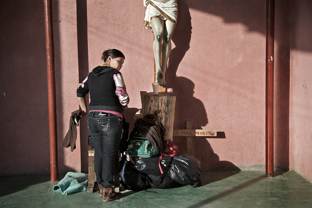 The backpacks are always ready and left in the entrance of the shelter. Ixtepec-Oxaca-Mexico,2011