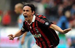 20-03-2010 VOETBAL: AC MILAN - NAPOLI: MILAAN<br /> Milan speelt gelijk 1-1 tegen Napoli / Filippo INZAGHI scoort de 1-1<br /> ©2010- nph /   N. Zangirolami