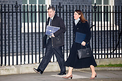 © Licensed to London News Pictures. 30/01/2018. London, UK. Justice Secretary David Gauke and Minister of State for Immigration Caroline Noakes arriving in Downing Street to attend a Cabinet meeting this morning. Photo credit : Tom Nicholson/LNP