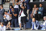 Tony Fernandes, the QPR Chairmen celebrates from the stands after full time. Skybet EFL championship match, Queens Park Rangers v Leeds United at Loftus Road Stadium in London on Sunday 7th August 2016.<br /> pic by John Patrick Fletcher, Andrew Orchard sports photography.