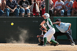 09 May 2014:  Chloe Montgomery bats, Maddie Dieleman catches during an NCAA Division III women's softball championship series game between the Lake Forest Foresters and the Illinois Wesleyan Titans in Bloomington IL